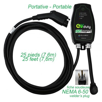 Borne de recharge EVduty Portative 30A 25 pieds EVC30 - NEMA 6-50